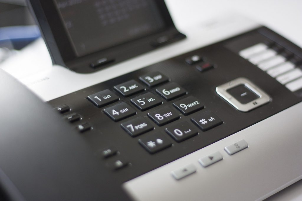 phone integrated into a telephone system for business